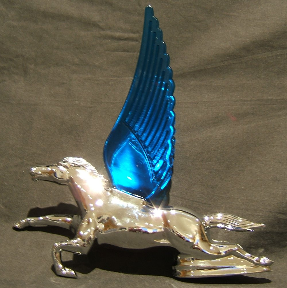 Flying Horse with Blue Illuminated Wings-Chrome Plated